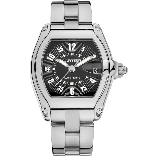 *Cartier Men's Roadster Tonneau Stainless Steel Case Black Dial Sapphire Push/Pull Crown Automatic M