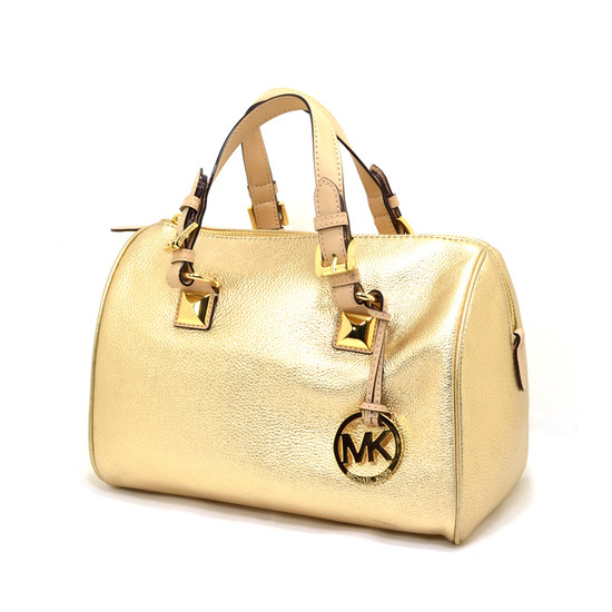 Brand New Michael Kors Grayson Leather Pale Gold Medium Tote