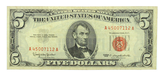 Rare 1963 $5 US Red Seal Note Great Investment