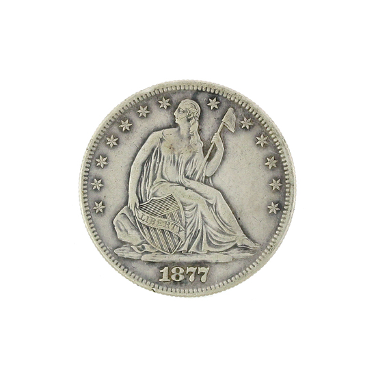 Extremely Rare 1877 Liberty Seated Half Dollar Coin