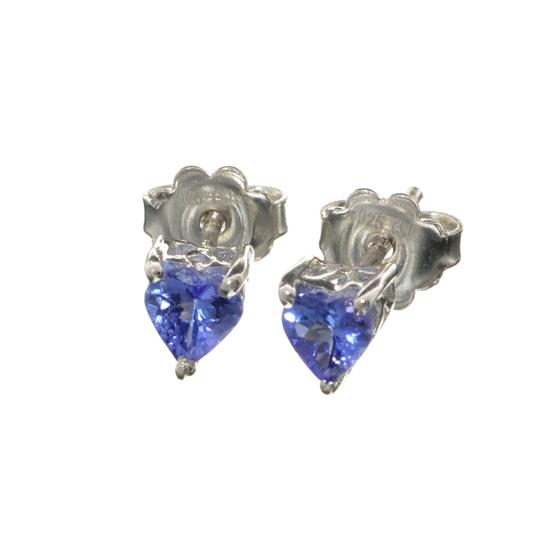 APP: 1k Fine Jewelry 1.20CT Heart Cut Tanzanite And Sterling Silver Earrings