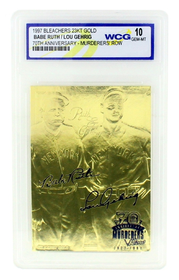 Rare Ruth/ Gehrig 23kt. Gold Anniversary Card Grated Gem – MT 10 – Great Investment