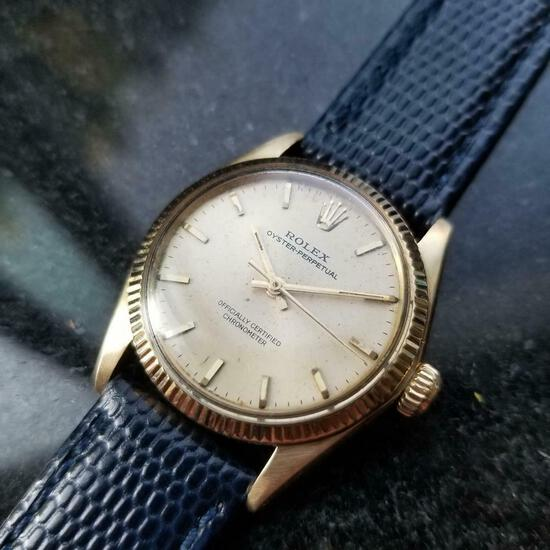 *ROLEX 14k Oyster Perpetual Automatic c.1956 Swiss Vintage Men's Watch