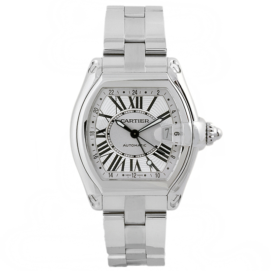 *Cartier Men's Roadster Tonneau Stainless Steel Case Silver Dial Sapphire Push Screw-in Crown Swiss
