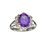 APP: 0.5k Fine Jewelry 3.14CT Purple Amethyst And White Sapphire Sterling Silver Ring