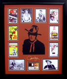 *Rare John Wayne with Authentic Swatch of Clothing Museum Framed Collage - Plate Signed