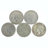 Extremely Rare (5) Misc. U.S. Peace Type Silver Dollar Coin  - Great Investment!