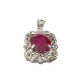 Fine Jewelry Designer Sebastian 12.40CT Oval Cut Ruby And Platinum Over Sterling Silver Pendant