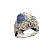 APP: 2.3k Fine Jewelry 2.80CT Oval Cut Cabochon Tanzanite And Platinum Over Sterling Silver Ring