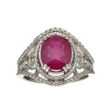 Fine Jewelry Designer Sebastian, Ruby And White Topaz Sterling Silver Ring