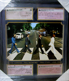 *Rare The Beatles Sign Copied Bank Checks Museum Framed Collage