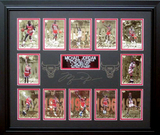 *Rare Michael Jordan 12 Player Card Museum Framed Collage - Plate Signed
