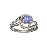 APP: 2k Fine Jewelry 0.50CT Tanzanite And Diamond Platinum Over Sterling Silver Ring