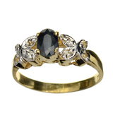 APP: 1.2k 14KT. Gold, 0.50CT Oval Cut Blue And White Sapphire Ring