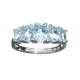 Fine Jewelry 2.00CT Oval Cut Light Blue Aquamarine Beryl And Platinum Over Sterling Silver Ring