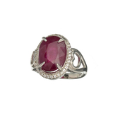 APP: 2.4k Fine Jewerly 7.00CT Oval Cut Ruby And White Sapphire Sterling Silver Ring