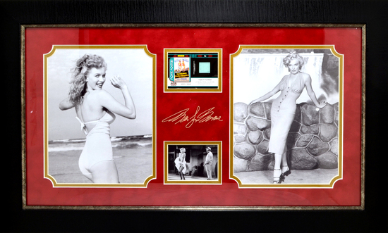 *Rare Marilyn Monroe with Authentic Swatch of Clothing Museum Framed Collage - Plate Signed