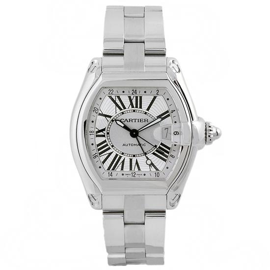 *Cartier Men's Roadster Tonneau Stainless Steel Case Silver Dial Sapphire Push Screw-in Crown Swiss