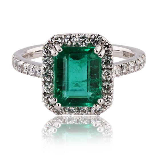 APP: 19.8k *2.38ct Emerald and 0.66ctw Diamond Platinum Ring (Vault_R12 45151)