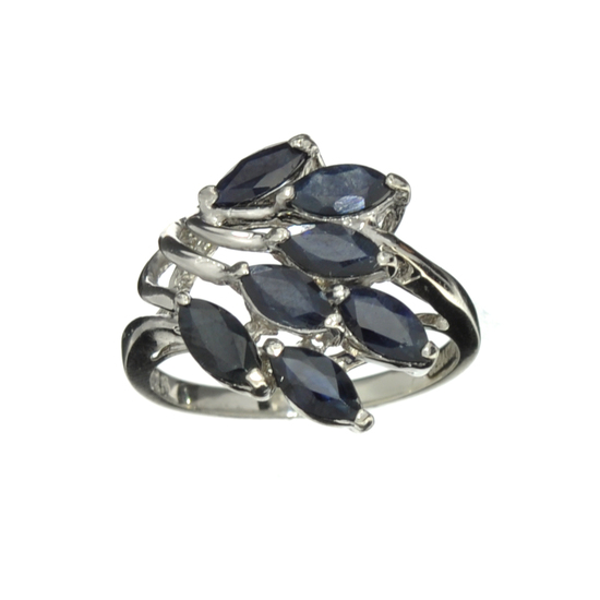 Fine Jewelry Designer Sebastian, 1.89CT Marquise Cut Blue Sapphire And Sterling Silver Cluster Ring