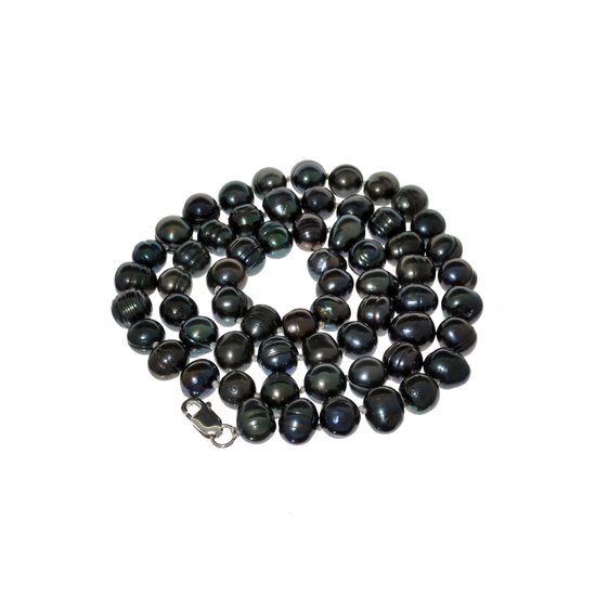 Gorgeous 18'' Black Pearl Strand with Sterling Silver Clasp Necklace