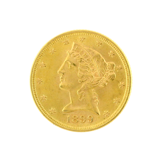 Rare 1899 $5 Liberty Head Gold Coin Great Investment (DF)
