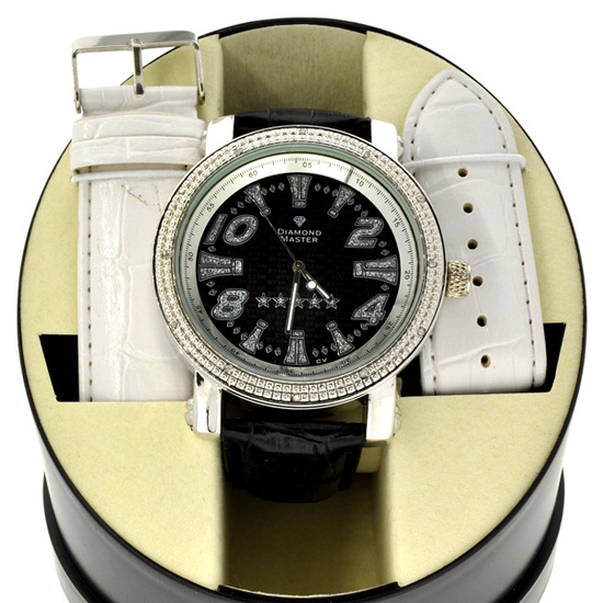 Men's Diamond Maxx Designer Watch With Diamond On Case and One Interchangeable Band