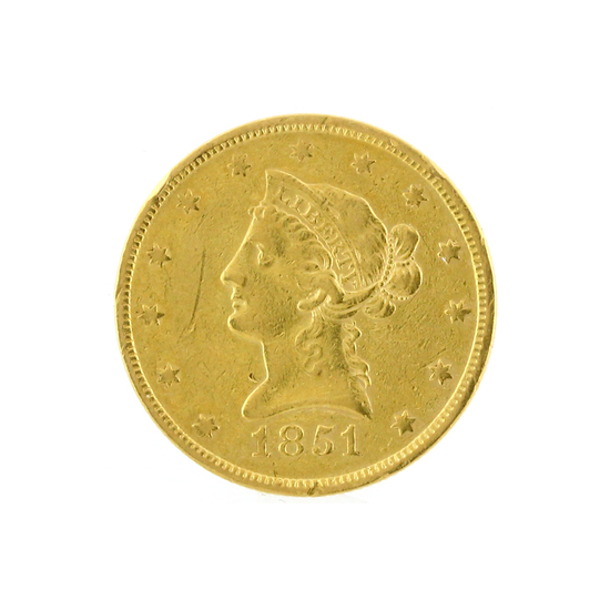 Rare 1851 $10 Liberty Head Gold Coin Great Investment (DF)
