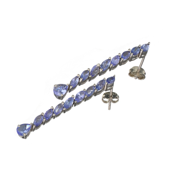 APP: 2.6k Fine Jewelry 2.56CT Mixed Cut Tanzanite And Platinum Over Sterling Silver Earrings