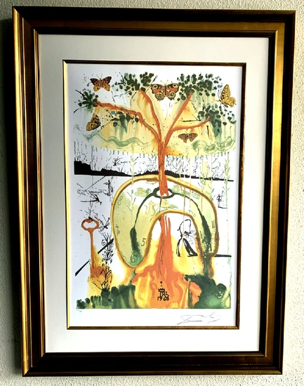 Salvador Dali (After) 'Mad Tea Party'  22 1/2 X 29 1/2 Museum Framed & Matted
