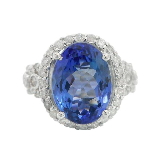 APP: 15.9k *5.75ct Tanzanite and 0.64ctw Diamond 14KT White Gold Ring (Vault_R12 4576)