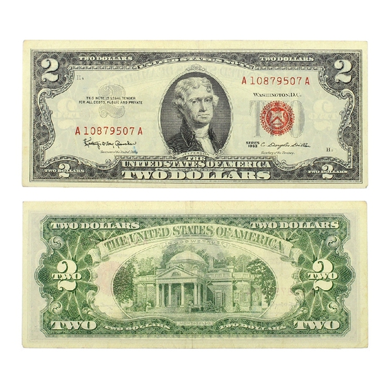 Rare 1963 $2 US Red Seal Note Great Investment