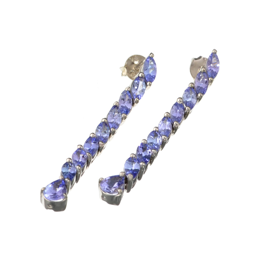 APP: 2.1k Fine Jewelry 0.75CT Pear Cut Tanzanie And Sterling Silver Dangle Earrings