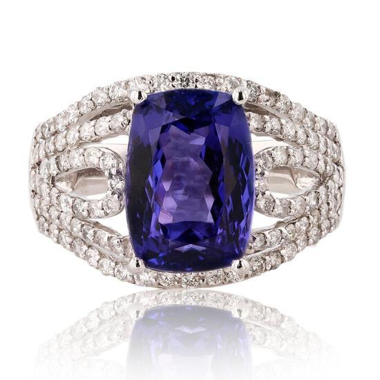 APP: 21.4k *4.82ct Tanzanite and 0.92ctw Diamond Platinum Ring (Vault_R12 45158)