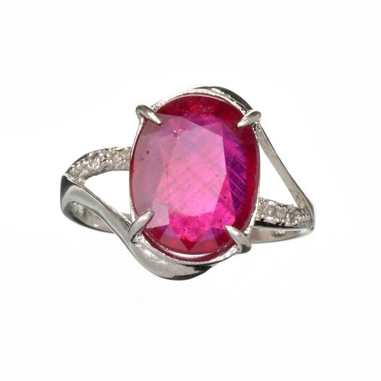 APP: 3k Fine Jewelry Designer Sebastian 5.14CT Ruby And Colorless Topaz Platinum Over Sterling Silve