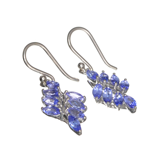 APP: 2.1k Fine Jewelry 3.10CT Marquise Cut Tanzanite And Platinum Over Sterling Silver Earrings