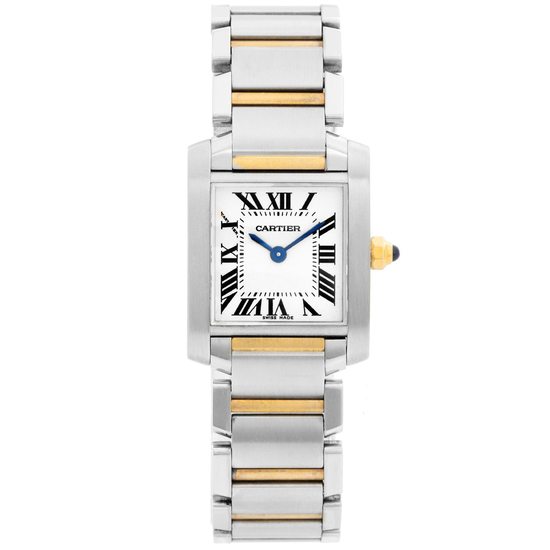 *Cartier Women's Tank Square Stainless Steel Case White Dial Sapphire Push Screw-in Crown Swiss Quar