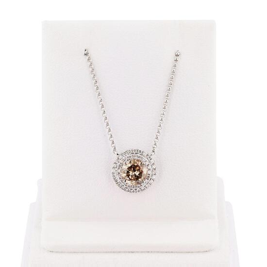 APP: 9.8k *1.11ct Fancy Brown Diamond 18K White Gold Pendant/Necklace (1.31ctw Diamonds) (Vault_R12