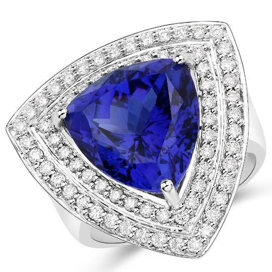 APP: 43k *18KT. White Gold 12.88 Trillion Cut Tanzanite and White Diamond Ring (Vault_Q) (QR23721TAN