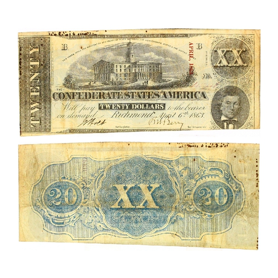 Rare 1863 $20 The Confederate States of America Richmond Note - Great Investment -