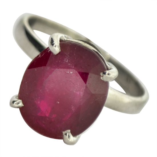 APP: 5k Fine Jewelry Designer Sebastian 7.29CT Oval Cut Ruby Platinum Over Sterling Silver Ring