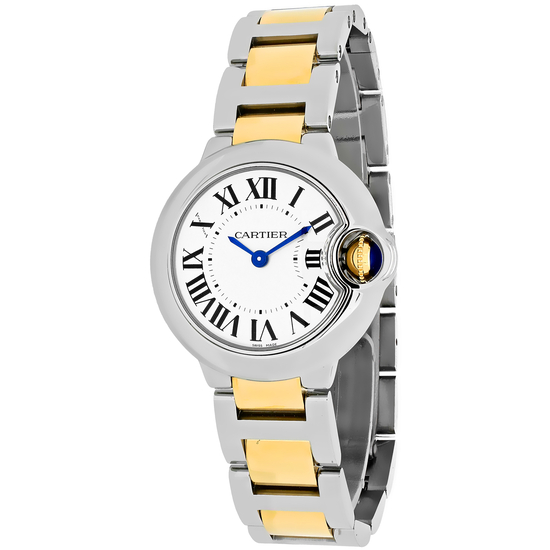 *Cartier Women's Ballon Bleu Round Stainless Steel Case Silver Dial Sapphire Push Screw-in Crown Swi