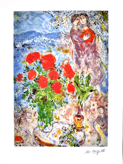 MARC CHAGALL (After) Red Bouquet with Lovers Print, I292 of 500