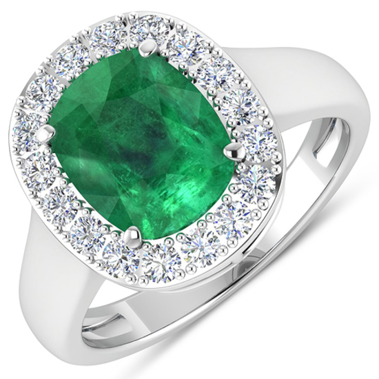 APP: 17k Gorgeous 14K White Gold 2.16CT Cushion Cut Zambian Emerald and White Diamond Ring - Great I