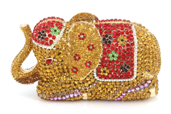 "*Rare Exquisite Swarovski Crystal Element Handbag by Christal Couture ""Elephant Gold/Red (Your Majes"