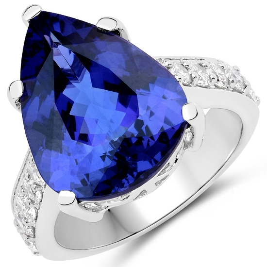 APP: 36.8k *18KT. White Gold 11.40 Pear Cut Tanzanite and White Diamond Ring (Vault_Q) (QR23715TANWD