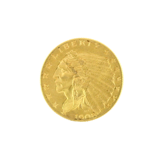 Rare 1908 $2.50 Indian Head Gold Coin Great Investment (DF)