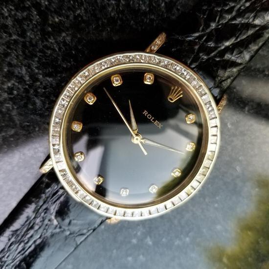 *Rolex Vintage 14k Gold Diamond Luxury Swiss on Croc Watch -P-