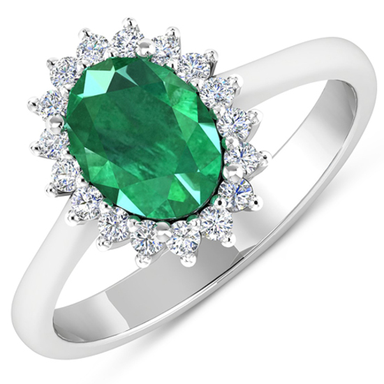 APP: 8.1k Gorgeous 14K White Gold 1.41CT Oval Cut Zambian Emerald and White Diamond Ring - Great Inv