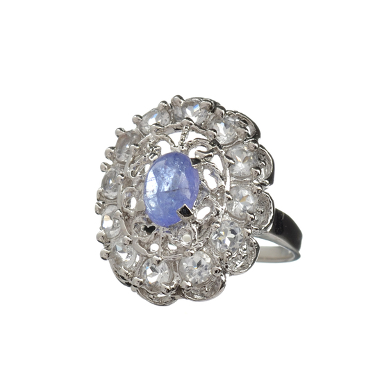 Fine Jewelry 1.00CT Violet Blue Tanzanite And Colorless Topaz Platinum Over Sterling Silver Ring
